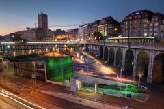 Lausanne Flon bij schemering, Zwitserland Stock Foto's
