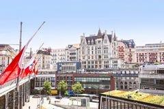 Lausanne gatasikt i sommar Arkivbild