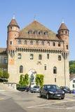 Lausanne helgon-Maireslott (Chateauhelgon-Maire) i sommar Arkivfoton