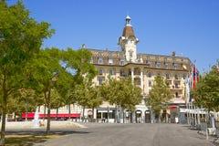 Lausanne hotell i Ouchy nära Genève sjön i sommar Fotografering för Bildbyråer