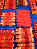 Lausanne, Market 01. Kabobs at the butcher shop at the market in Lausanne, Switzerland Stock Photo