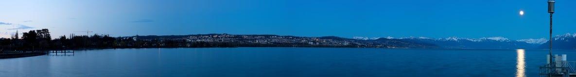 Lausanne at night (Switzerland). Panoramic view of Lausanne at night (Switzerland stock photo