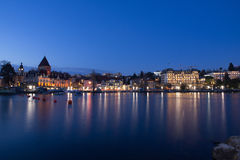 Lausanne Ouchy on Lake Geneva in Twilight Stock Photography