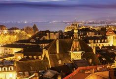 Lausanne panorama at night Stock Photos