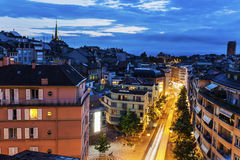 Lausanne panorama at night Royalty Free Stock Photos
