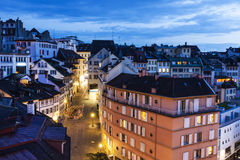 Lausanne panorama at night Royalty Free Stock Image