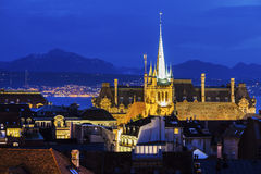 Lausanne panorama with Saint-Francois Church Stock Photography