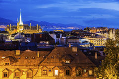 Lausanne panorama with Saint-Francois Church Royalty Free Stock Images
