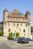 Lausanne Saint-Maire Castle (Chateau Saint-Maire) in summer. Street view stock photos