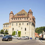 Lausanne Saint-Maire Castle (Chateau Saint-Maire) in summertime. Street view royalty free stock photography