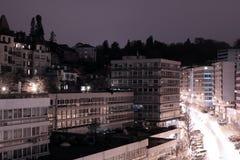 Lausanne Schweitz. Nattplats. Arkivfoto