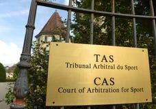 Lausanne Schweiz - Juni 05, 2017: Domstol av skiljedom för Fotografering för Bildbyråer