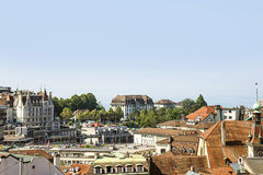 Lausanne skyline view to Geneva Lake in summertime in Switzerlan Royalty Free Stock Photos