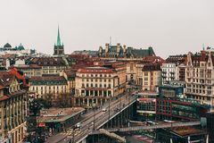 Lausanne, Suiza - 13 de marzo de 2013: Vista de Lausanne céntrica Fotografía de archivo
