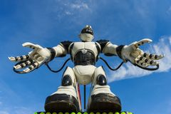Giant robot at the fair in Lausanne. stock photos