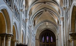 Interior of Cathedral of Notre Dame of Lausanne. Switzerland stock image