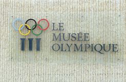 Lausanne, Switzerland - June 05, 2017: Signboard with Olympic ri. Ngs at Olympic museum in Lausanne Stock Images