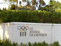 Lausanne, Switzerland - June 05, 2017: Signboard with Olympic ri. Ngs at Olympic museum in Lausanne Stock Photography