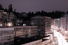 Lausanne, Switzerland.  Night scene. Lausanne, Switzerland. City quarter. Night scene. Not subsiding motion Stock Photo