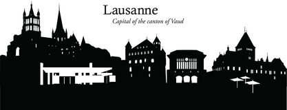 Lausanne, Switzerland. Vector illustration of the skyline cityscape of Lausanne, Switzerland Royalty Free Stock Image