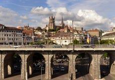 Lausanne Szwajcaria, Czerwiec, - 05, 2017: Lausanne pejzaż miejski z G Obraz Stock