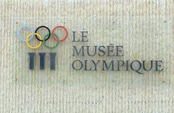 Lausanne Szwajcaria, Czerwiec, - 05, 2017: Signboard z Olimpijskim ri Obrazy Stock