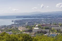Lausanne. View over the city of Lausanne, Switzerland, with Olympic stadium and lake Geneva stock image