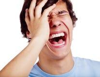 Laut lachender Kerl über Weiß Lizenzfreie Stockfotografie