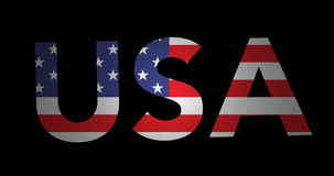 Laut summender Text USA mit Flagge stock video
