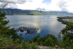Lautawar lake. Lake functionalized into a fishpond as income areas of community life in Aceh Takengon Royalty Free Stock Photography