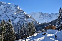 Lauterbrunnen, ¼ MÃ rren в горах рождества снега Швейцарии Стоковые Изображения