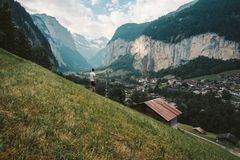 Lauterbrunnen Schweiz - Europa fotografering för bildbyråer