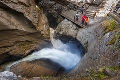 Lauterbrunnen, Svizzera - 6 maggio 2018: Cascata di Trummelbach Immagine Stock Libera da Diritti