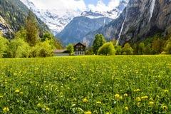 Lauterbrunnen, Svizzera, panorama, casa piacevole fotografie stock libere da diritti