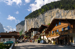 Lauterbrunnen town in the beautiful valley of Swiss Alps Stock Photos