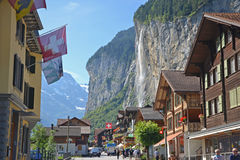 Lauterbrunnen town waterfall Royalty Free Stock Photo