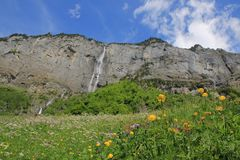 Lauterbrunnen valley with mountains and waterfall Switzerland Stock Image