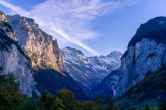 The Lauterbrunnen valley, near Interlaken in the Bernese Oberland, Switzerland. royalty free stock image