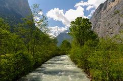 Lauterbrunnen Valley Stream. Rapid Stream in Lauterbrunnen Valley in Swiss Alps, Switzerland Royalty Free Stock Images