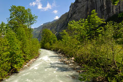 Lauterbrunnen Valley Stream. Rapid Stream in Lauterbrunnen Valley in Swiss Alps, Switzerland Stock Photos