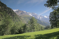 Lauterbrunnen valley in Switzerland with surrounding mountains. Royalty Free Stock Images