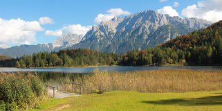 Lautersee and bogland, autumnal lake in bavaria Stock Images