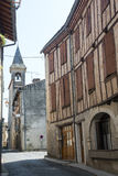 Lautrec (France), old village. Lautrec (Tarn, Midi-Pyrenees, France), medieval village with half-timbered buildings Royalty Free Stock Photos