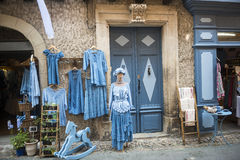 Lautrec (France), old village. Lautrec (Tarn, Midi-Pyrenees, France), medieval village with half-timbered buildings: typical shop Royalty Free Stock Images