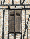 Lautrec (France), old village. Lautrec (Tarn, Midi-Pyrenees, France), medieval village with half-timbered buildings: window Stock Photos