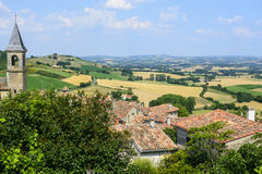 Lautrec (France), old village. Lautrec (Tarn, Midi-Pyrenees, France), medieval village: panoramic view Royalty Free Stock Images