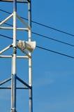 Lautsprecher gegen Kommunikationskonzept. Stockfotos