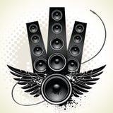 Lautsprecher mit Flügeln und Draht vektor abbildung