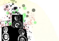 Lautsprecher mit Retro- Zeilen und spritzen Kreisen Stockbild