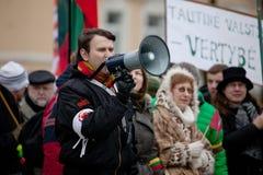 Lautsprechersingenslogans auf der nationalistischen Sammlung Lizenzfreie Stockfotografie